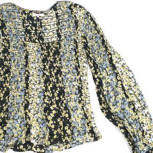 Parker Dara Silk Blouse Size xs Floral Boho Top